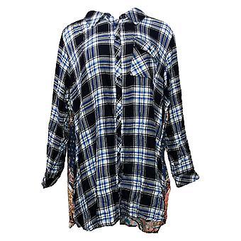 Coleção Tolani Top Feminino Plus Plaid Tunic Print Back Blue A383438