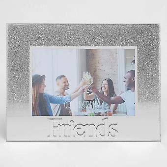 """5 """" x 3,5 """" Zilveren Glitter Glazen Frame - Vrienden"""