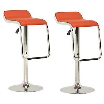 vidaXL bar stool 2 pcs. orange fabric and bentwood
