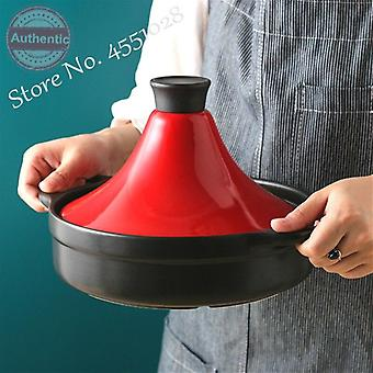 2L Moroccan Cast Iron Frying Pan With Enamel Lid Stew Pots Claypot Rice Casserole(red)