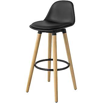 SoBuy Cocina Desayuno Taburete con PU cuero asiento acolchado &piernas de madera de haya, FST70-SCH