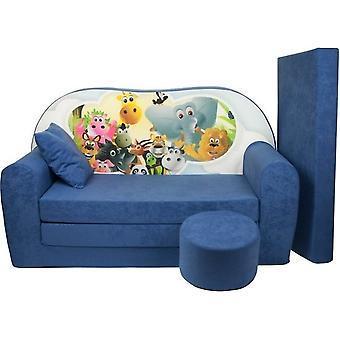 Sofá-cama infantil - colchão de hóspedes - sofá - 170 x 100 x 8 - sofá-cama - azul marinho - Madagascar