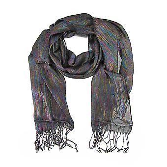 Ren svart sjal med flerfargede metalliske tråder