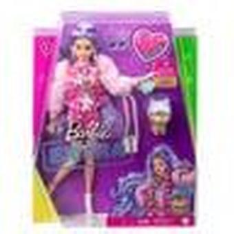 Barbie ekstra dukke millie med periwinkle hår og kjæledyr bulldog figur