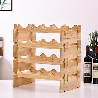 Klassieke diy houten wijnflessen houder wijn opslag rack stand opslag rack bar plank gratis