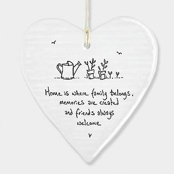 Holiday ornament displays stands isolation christmas gifts  wobbly round heart 'home is where family belongs' porcelain christmas gift  hanging decor