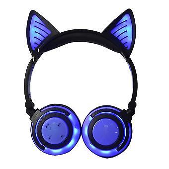 Kids Headphone Bluetooth Cat Ear(Night Blue)