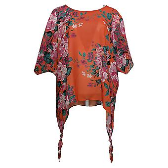 Colleen Lopez Women's Top Printed Poncho Orange 704512