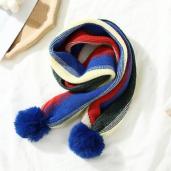 Children's Winter Knitted Women's And Men's Warm Color Wool Ball Student Long Scarf