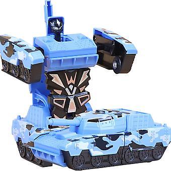 ツーインワン変形ロボットタンクトイカーキット12-13cm ワンステップ変形おもちゃ車モデル 子供のおもちゃの誕生日プレゼント-