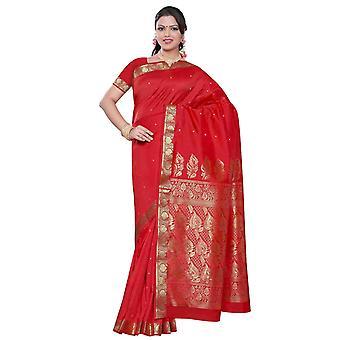 Spicy rød - Benares kunst silke Sari / Saree/Bellydance stof (Indien)