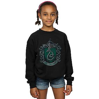 Harry Potter Girls Slytherin Distressed Crest Sweatshirt