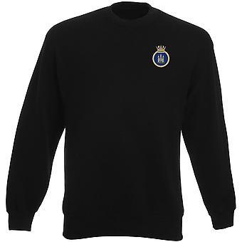 HMS Pembroke gestickte Logo - offizielle Royal Navy Schwergewichts-Sweatshirt