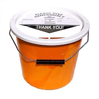 Charity Money Collection Bucket 5.7 Litres - Orange