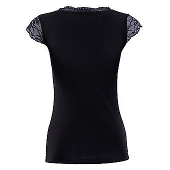 BlackSpade Comfort Black Modal Lace V-Neck Top 1348