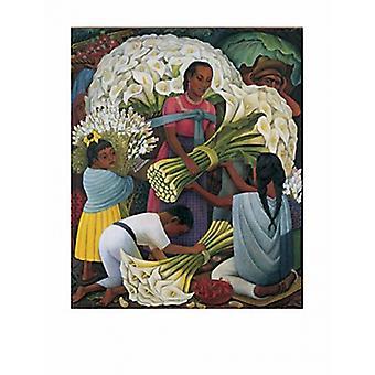 Die Blume Anbieter Poster Print von Diego Rivera (29 x 38)