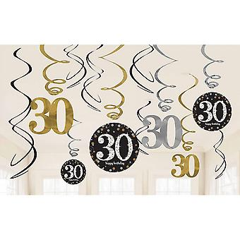 Amscan Sparkling Gold Celebration 30th Birthday Hanging Swirl Decorations - 12 Pack