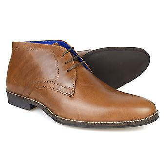 Red Tape Elstow Men's Tan Leather Formal Desert Boots