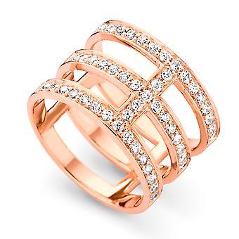 Orphelia sølv 925 Ring Rosegold 3 linier Zirconium ZR-7125/RG