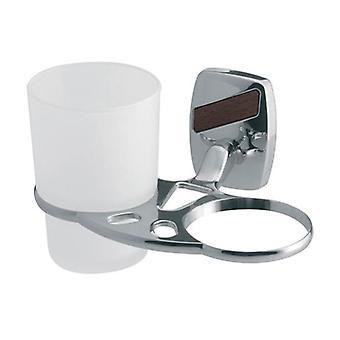 Dubbelrum härdat glas Toothmug tandborste Cup grepp modernt badrum kromade Zamak