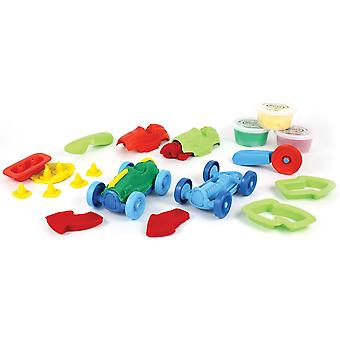 Green Toys 12 Piece Race Car Eco Friendly Play Dough Set, Doh Moulding