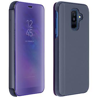 Samsung Galaxy A6 Plus Flip-Cover mit Spiegeleffekt & Standfunktion – Violett