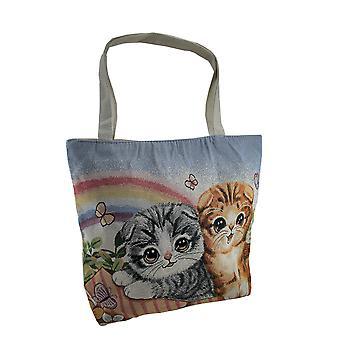 Cotone colorato arcobaleno gattini Tapestry Tote Bag