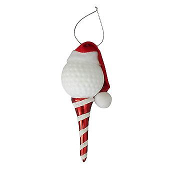 Christmas By Krebs Golf Ball Tee with Santa Hat Holiday Ornament Glass