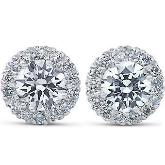 2 3/4 ct okrągły Halo Diamond stadniny 14k białe złoto Enhanced 10.9mm