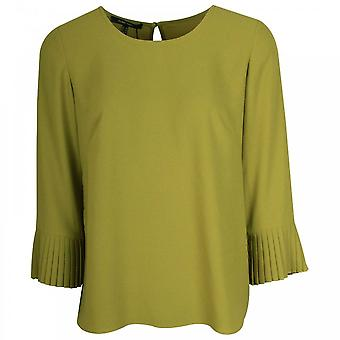 Marie Mero 3/4 Sleeve Pleated Cuff Floaty Top