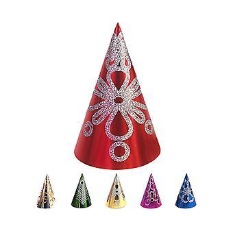Cono cappello Glitter decorato 28cm - confezioni da 12 In colori assortiti