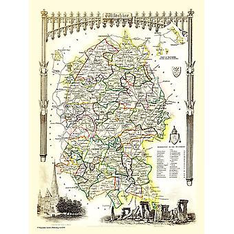 Gammal karta av Wiltshire 1836 av Thomas Moule 1000 bit pussel (jhg)