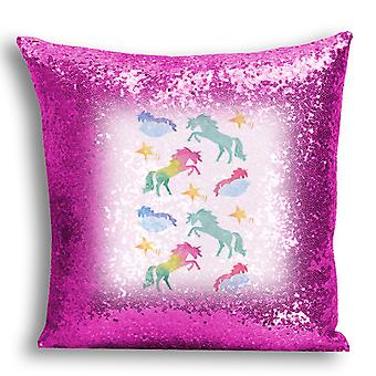 i-Tronixs - Unicorn Printed Design Pink Sequin Cushion / Pillow Cover for Home Decor - 7
