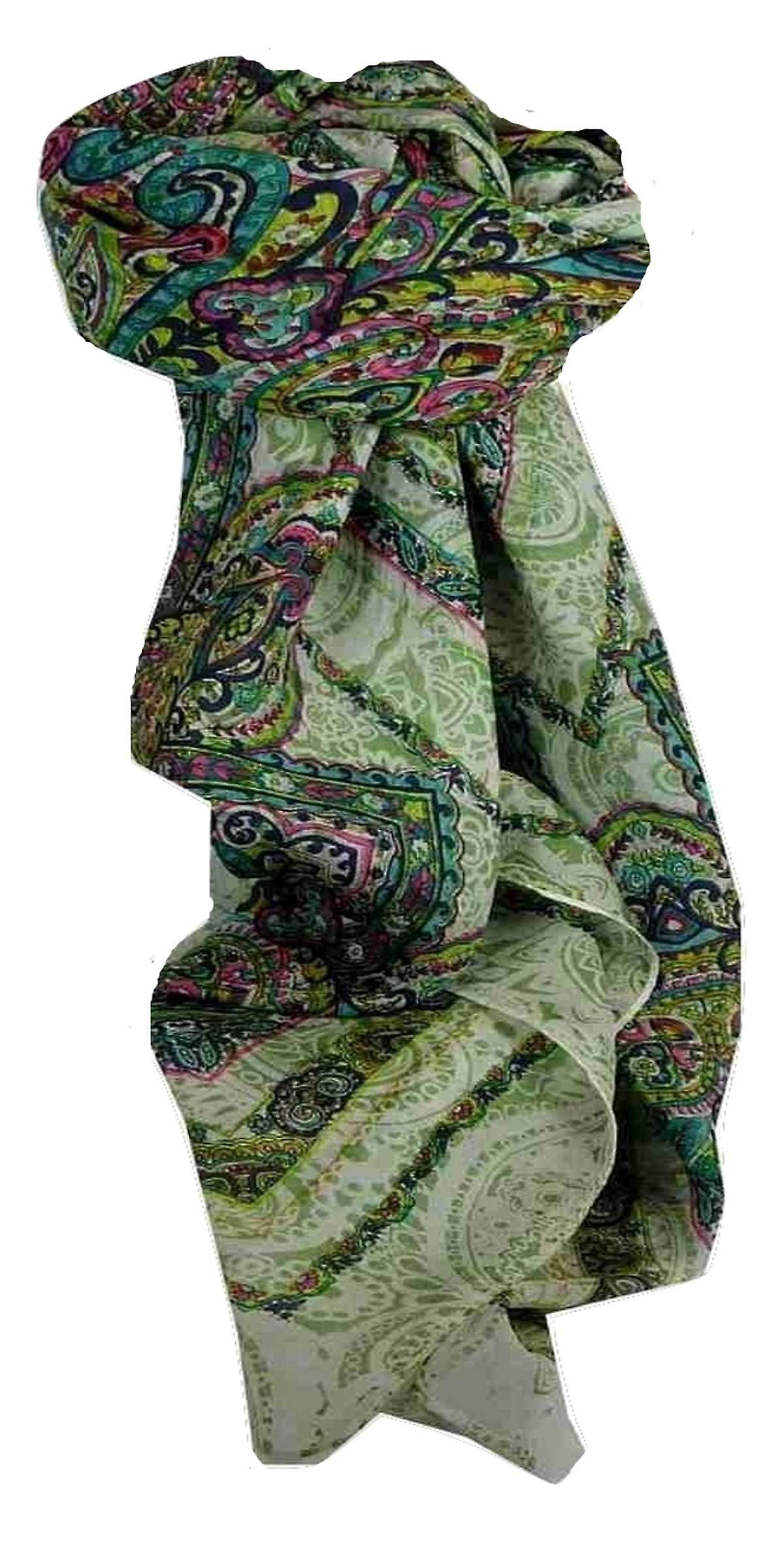 Mulberry Silk Traditional Square Scarf Shobna Green by Pashmina & Silk