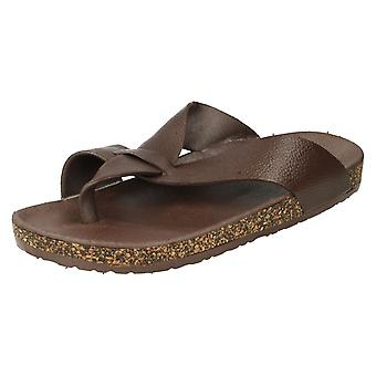 Men's Footbed Toepost Slip On Sandals With Cork Effect
