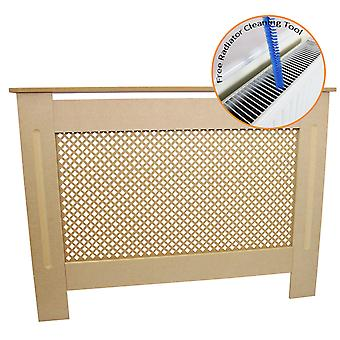 Radiator Cover Natural Unfinished MDF Wood Trellised Grill Modern Heating Home Furniture Cabinet Shelf