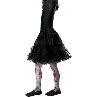 Zombie Dirt Tights, Child, Grey, with Blood Splatter