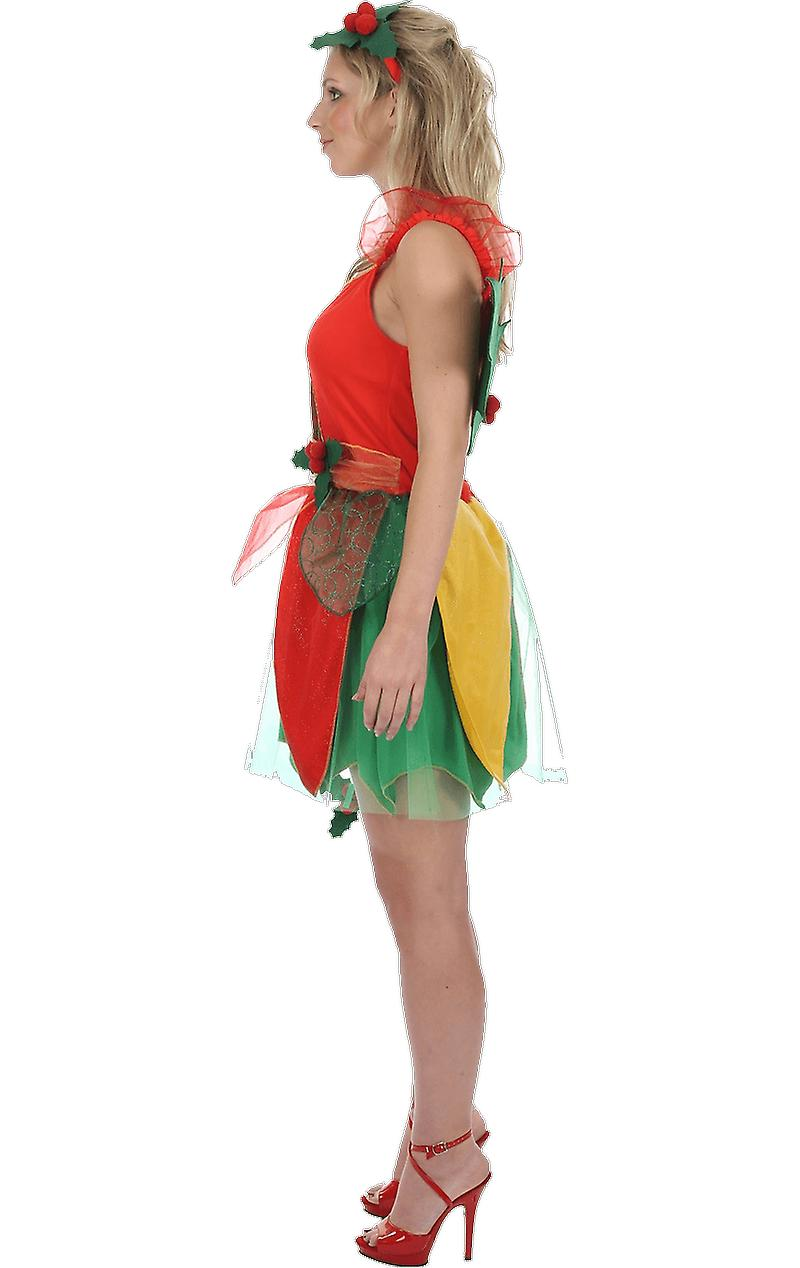 Womens Green Red Holly Woodlands Magic Pixie Fairy Fancy Dress Nymph Costume