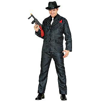 Miesten 1920-luvun musta gangsteri Capone naamiaispuku puku