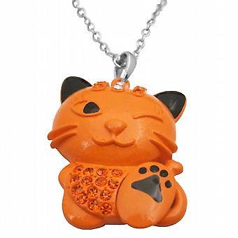 HipHop Cat Orange Enamel Cat Fire Opal Crystals Cat Pendant Necklace
