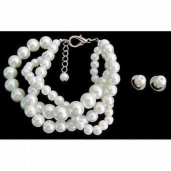 White Bracelet Stud Earrings Gift Beautiful White Jewelry