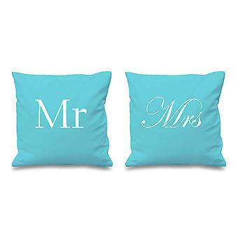 Mr and Mrs Aqua Cushion Covers 16