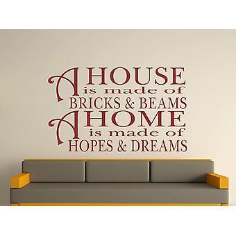 Una casa está hecha de ladrillos y vigas v2 arte etiqueta de la pared - Borgoña