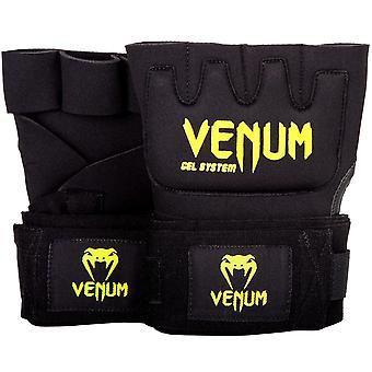 Venum Kontact Gel MMA Neoprene Handwraps - Black/Neo Yellow - OSFA