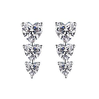 925 Sterling Silver Trio Of Heart Cut Stones Stud Earring Set