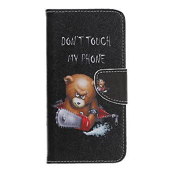 Samsung Galaxy A40 Portafoglio Caso-Arrabbiato Orso ed è Avvertenza