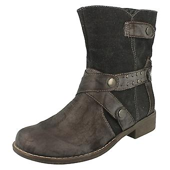 Ladies Spot On Mid Heel Ankle Boots