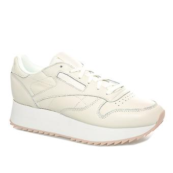 Womens Reebok Classics Leather Double Trainers In Chalk / Bare Beige