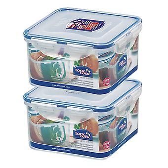 Lås og lås 1,2 L kvadrat Container, sett med 2