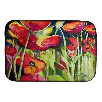Carolines Treasures  JMK1121DDM Red Poppies Dish Drying Mat